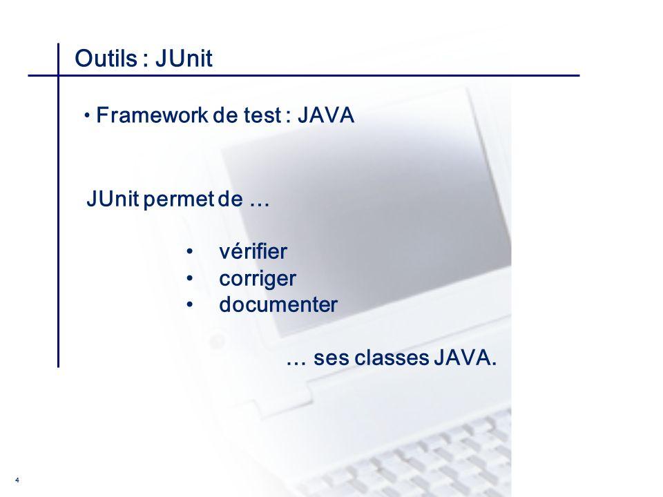 CONSEIL & INGENIERIE 4 Outils : JUnit JUnit permet de … vérifier corriger documenter … ses classes JAVA. Framework de test : JAVA