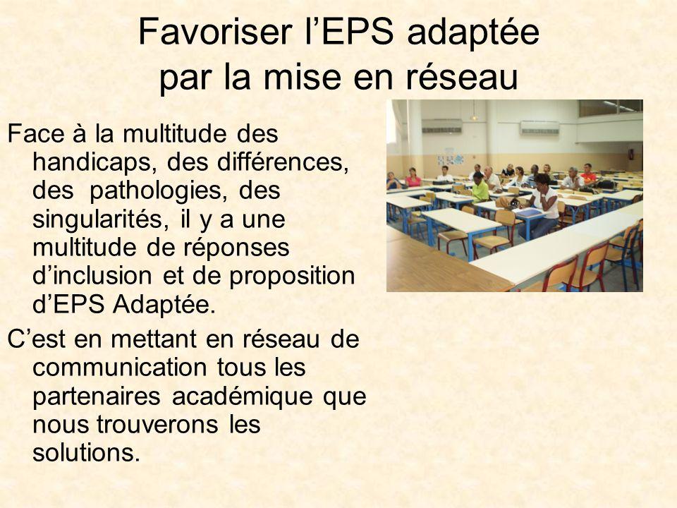 Favoriser lEPS adaptée par la mise en réseau Face à la multitude des handicaps, des différences, des pathologies, des singularités, il y a une multitude de réponses dinclusion et de proposition dEPS Adaptée.