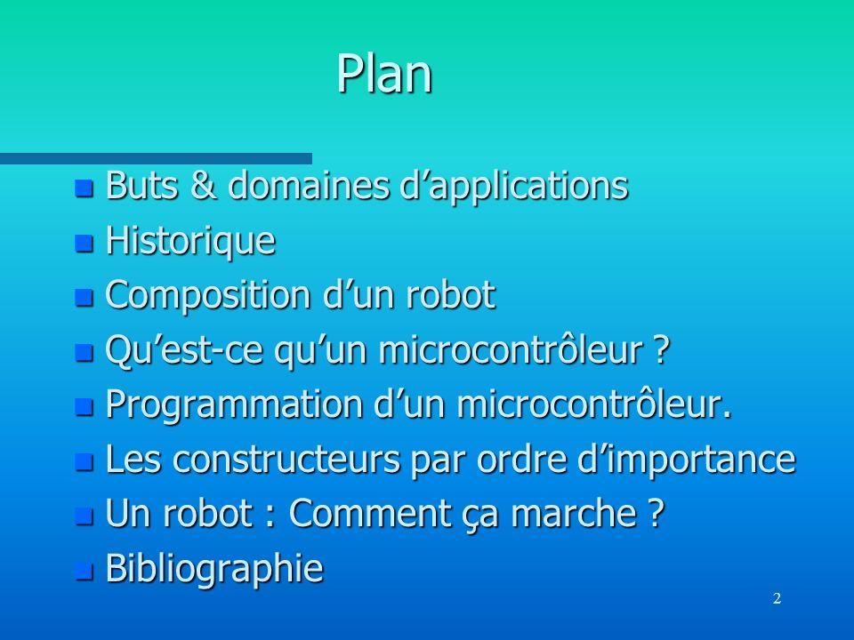 2 Plan n Buts & domaines dapplications n Historique n Composition dun robot n Quest-ce quun microcontrôleur ? n Programmation dun microcontrôleur. n L