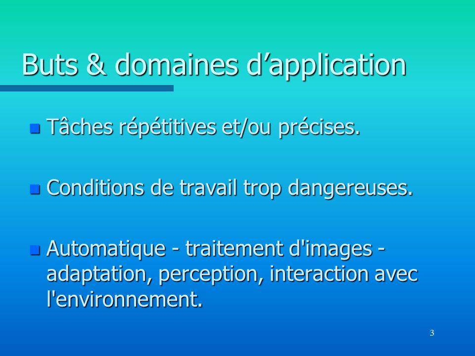 3 Buts & domaines dapplication n Tâches répétitives et/ou précises. n Conditions de travail trop dangereuses. n Automatique - traitement d'images - ad