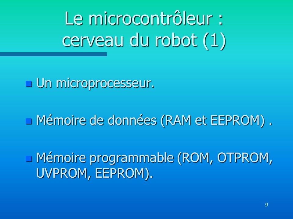 9 Le microcontrôleur : cerveau du robot (1) n Un microprocesseur. n Mémoire de données (RAM et EEPROM). n Mémoire programmable (ROM, OTPROM, UVPROM, E