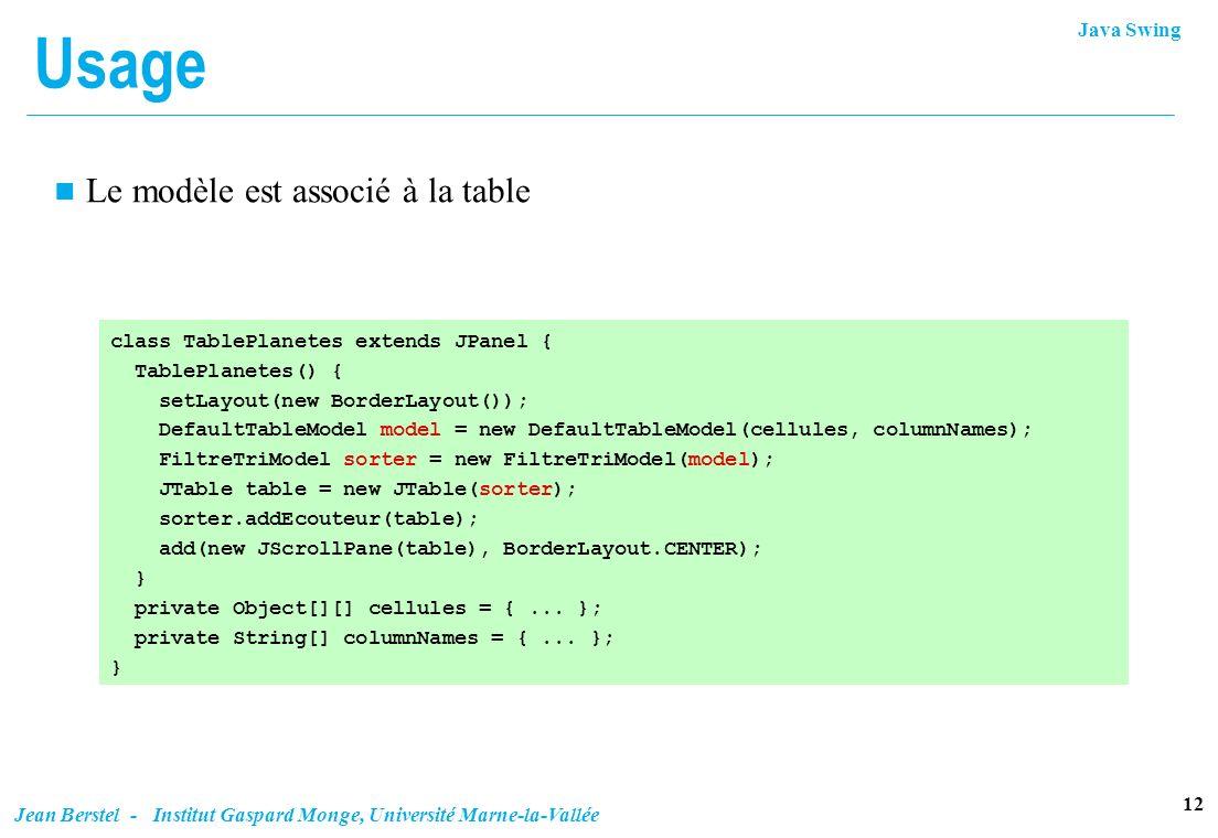 Java Swing 12 Jean Berstel - Institut Gaspard Monge, Université Marne-la-Vallée Usage n Le modèle est associé à la table class TablePlanetes extends J