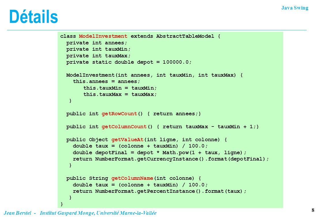 Java Swing 9 Jean Berstel - Institut Gaspard Monge, Université Marne-la-Vallée Format de nombres La classe abstraite java.text.NumberFormat est la classe de base pour le formatage de nombres.