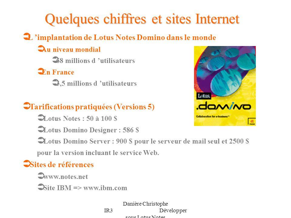 Danière Christophe IR3 Développer sous Lotus Notes L implantation de Lotus Notes Domino dans le monde Au niveau mondial 68 millions d utilisateurs En