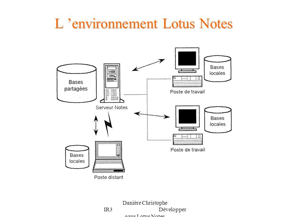 Danière Christophe IR3 Développer sous Lotus Notes Lorganisation d une base Notes