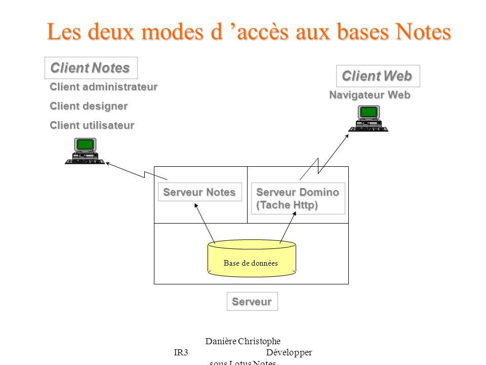 Danière Christophe IR3 Développer sous Lotus Notes Les deux modes d accès aux bases Notes Client Notes Client administrateur Client designer Client ut