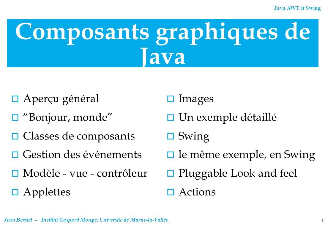 Java AWT et Swing 1 Jean Berstel - Institut Gaspard Monge, Université de Marne-la-Vallée Composants graphiques de Java o Aperçu général o Bonjour, mon