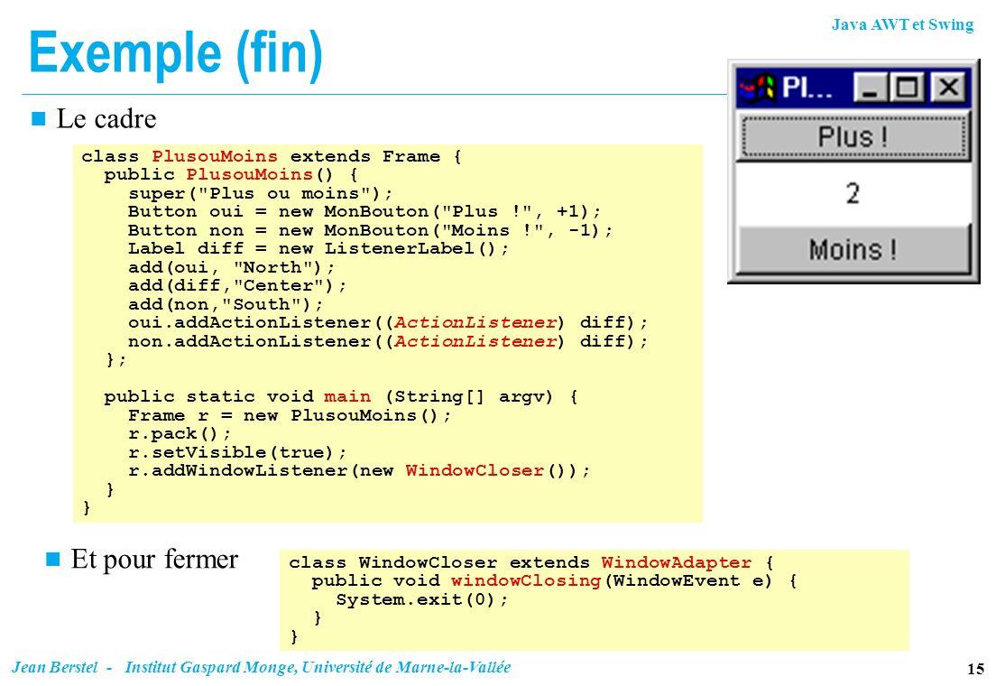 Java AWT et Swing 15 Jean Berstel - Institut Gaspard Monge, Université de Marne-la-Vallée Exemple (fin) n Le cadre class PlusouMoins extends Frame { p