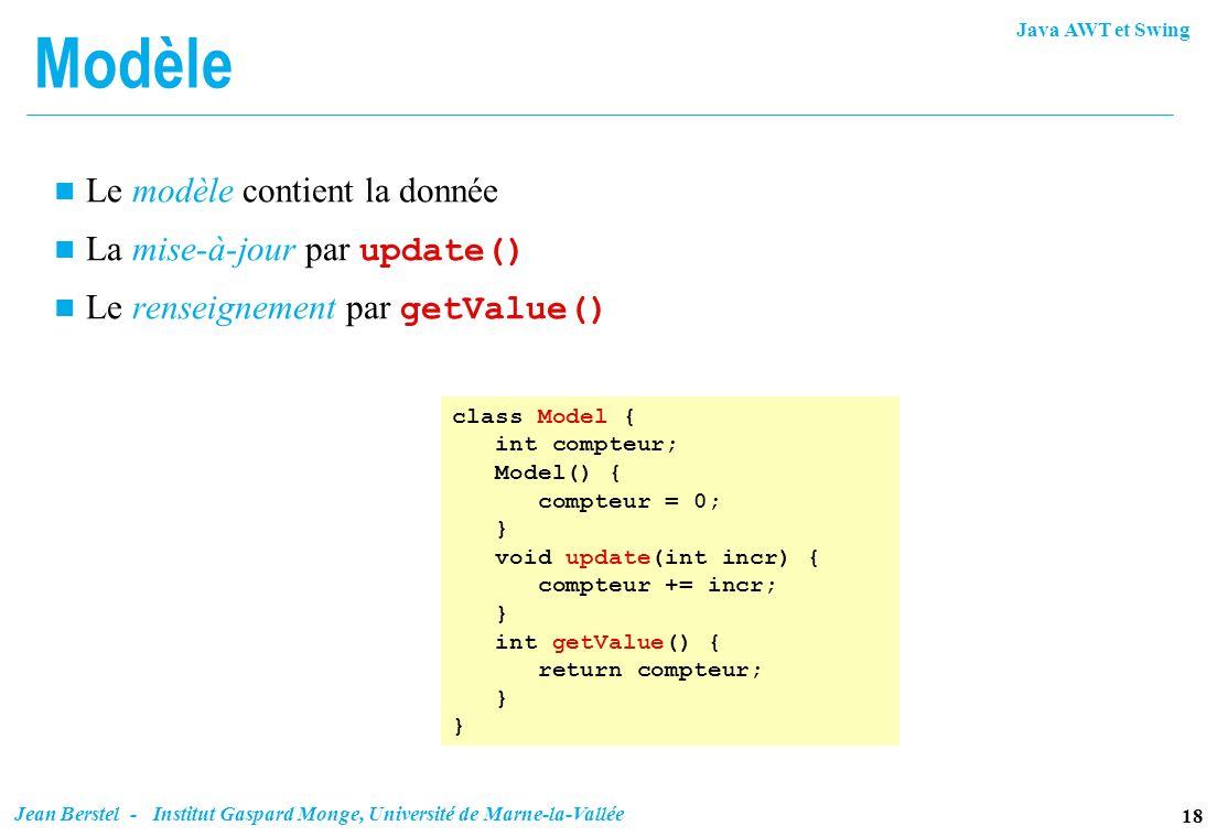 Java AWT et Swing 18 Jean Berstel - Institut Gaspard Monge, Université de Marne-la-Vallée Modèle n Le modèle contient la donnée La mise-à-jour par upd