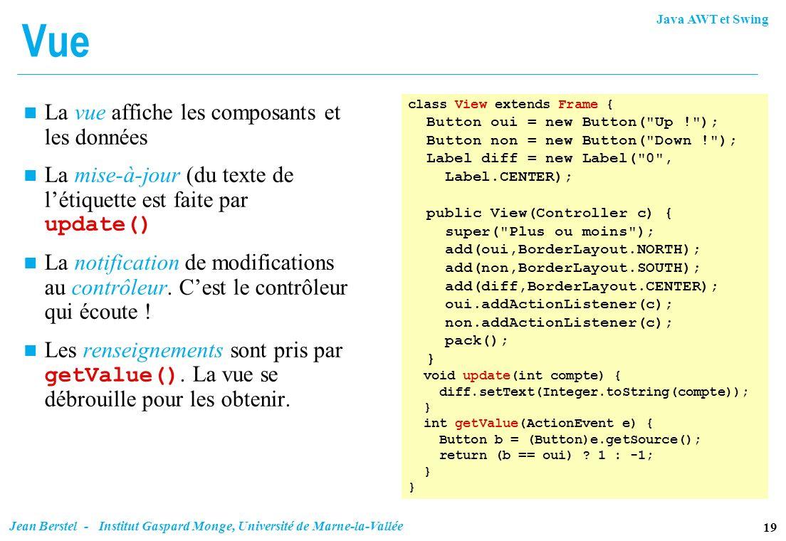 Java AWT et Swing 19 Jean Berstel - Institut Gaspard Monge, Université de Marne-la-Vallée Vue class View extends Frame { Button oui = new Button(