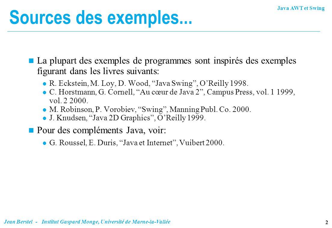 Java AWT et Swing 2 Jean Berstel - Institut Gaspard Monge, Université de Marne-la-Vallée Sources des exemples... n La plupart des exemples de programm