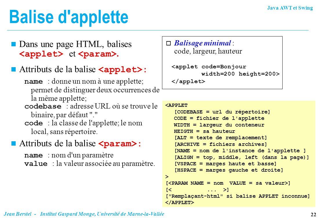 Java AWT et Swing 22 Jean Berstel - Institut Gaspard Monge, Université de Marne-la-Vallée <applet code=Bonjour width=200 height=200> o Balisage minima