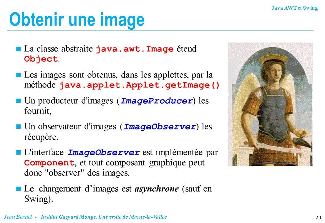 Java AWT et Swing 24 Jean Berstel - Institut Gaspard Monge, Université de Marne-la-Vallée Obtenir une image La classe abstraite java.awt.Image étend O
