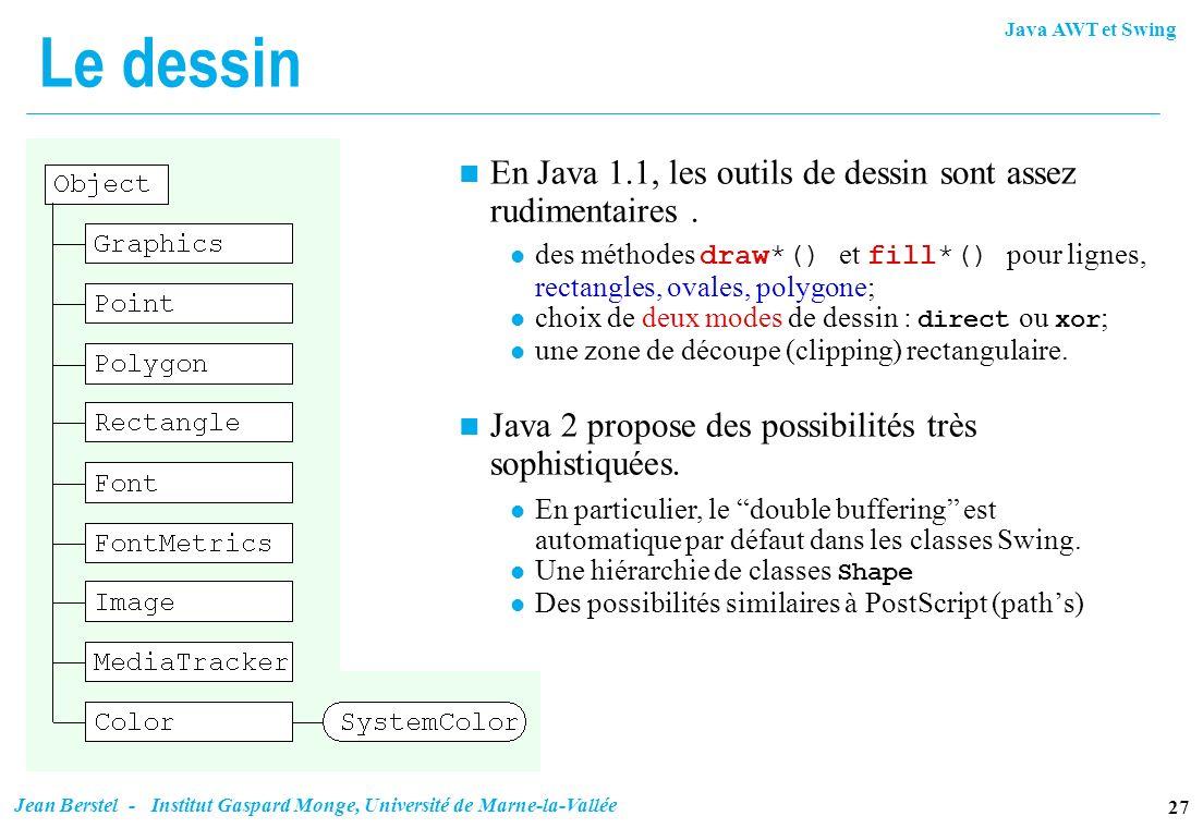 Java AWT et Swing 27 Jean Berstel - Institut Gaspard Monge, Université de Marne-la-Vallée Le dessin n En Java 1.1, les outils de dessin sont assez rud