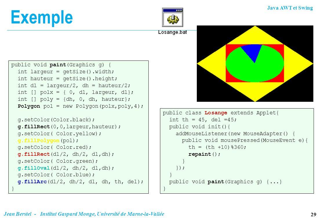 Java AWT et Swing 29 Jean Berstel - Institut Gaspard Monge, Université de Marne-la-Vallée Exemple public void paint(Graphics g) { int largeur = getSiz