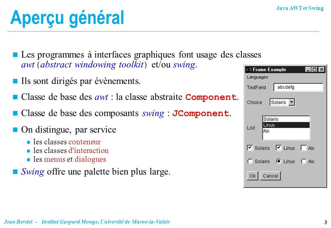 Java AWT et Swing 3 Jean Berstel - Institut Gaspard Monge, Université de Marne-la-Vallée Aperçu général Les programmes à interfaces graphiques font us