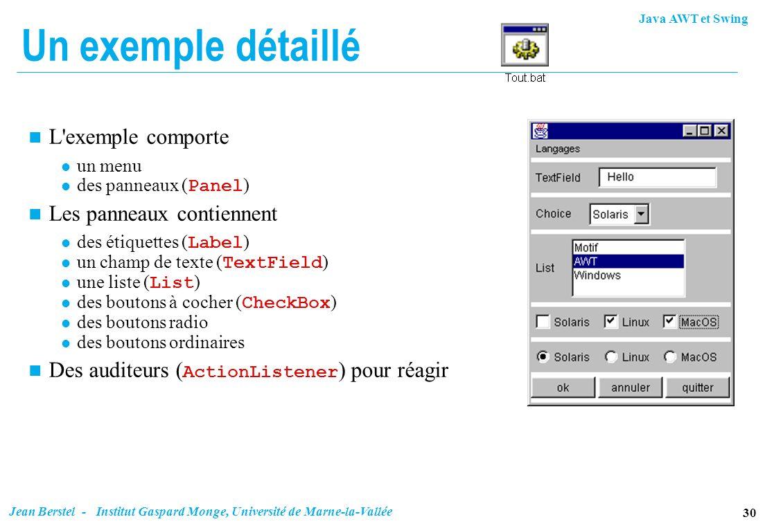Java AWT et Swing 30 Jean Berstel - Institut Gaspard Monge, Université de Marne-la-Vallée Un exemple détaillé n L'exemple comporte l un menu des panne