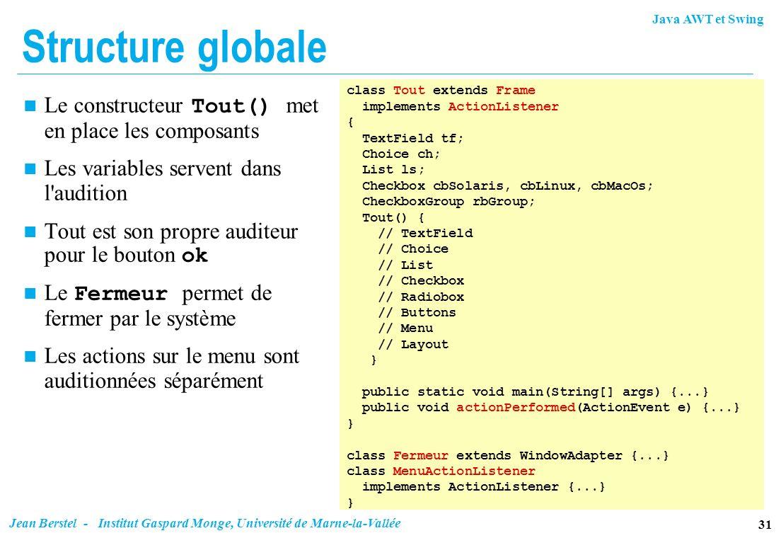 Java AWT et Swing 31 Jean Berstel - Institut Gaspard Monge, Université de Marne-la-Vallée Structure globale Le constructeur Tout() met en place les co