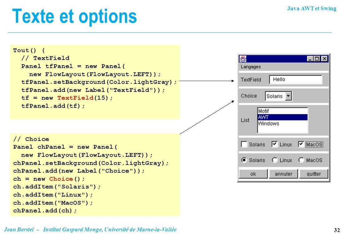 Java AWT et Swing 32 Jean Berstel - Institut Gaspard Monge, Université de Marne-la-Vallée Texte et options Tout() { // TextField Panel tfPanel = new P