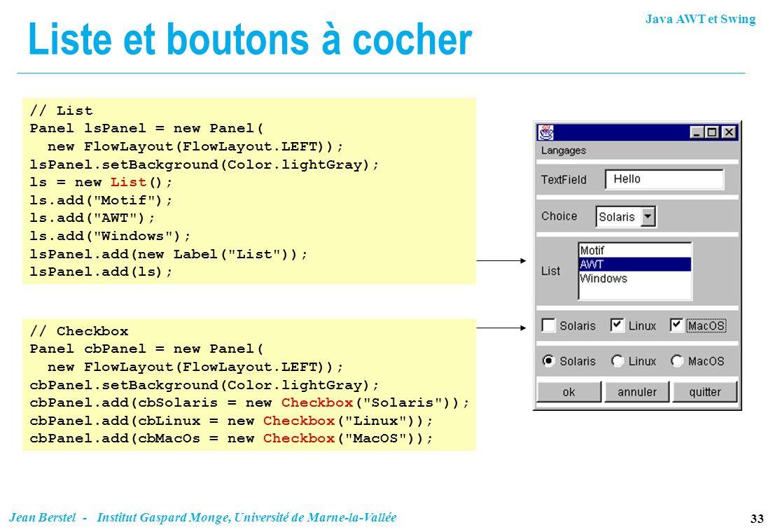 Java AWT et Swing 33 Jean Berstel - Institut Gaspard Monge, Université de Marne-la-Vallée Liste et boutons à cocher // List Panel lsPanel = new Panel(