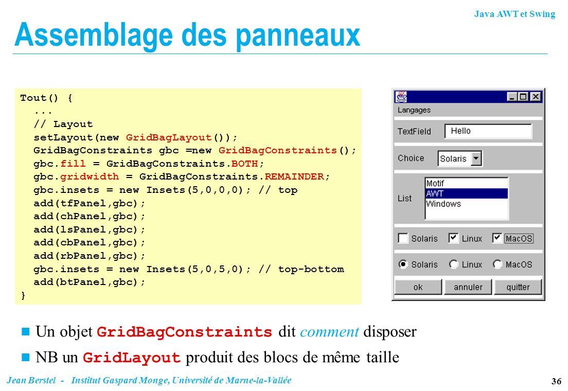 Java AWT et Swing 36 Jean Berstel - Institut Gaspard Monge, Université de Marne-la-Vallée Assemblage des panneaux Tout() {... // Layout setLayout(new