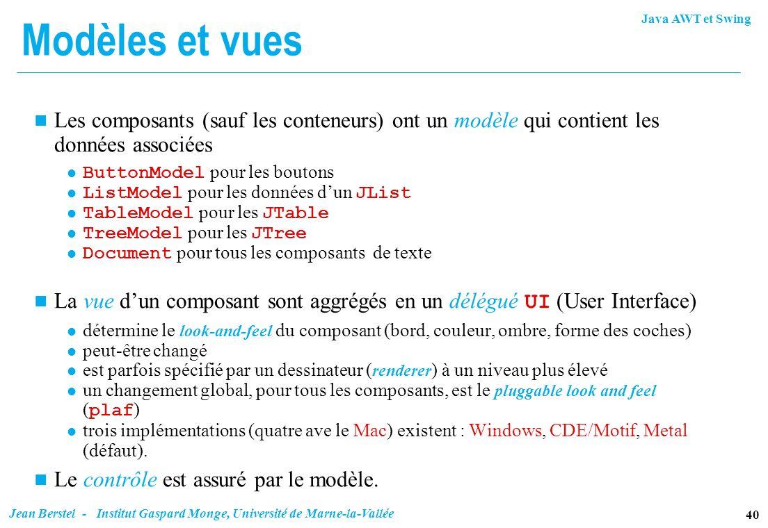 Java AWT et Swing 40 Jean Berstel - Institut Gaspard Monge, Université de Marne-la-Vallée Modèles et vues n Les composants (sauf les conteneurs) ont u