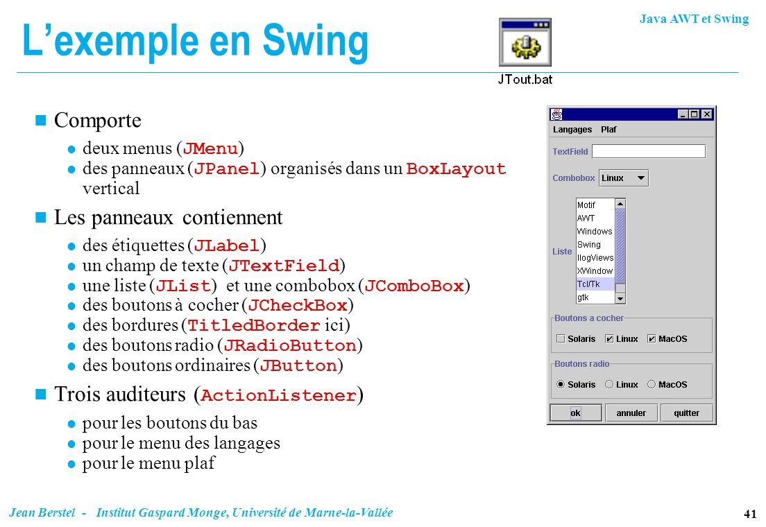 Java AWT et Swing 41 Jean Berstel - Institut Gaspard Monge, Université de Marne-la-Vallée Lexemple en Swing n Comporte deux menus ( JMenu ) des pannea