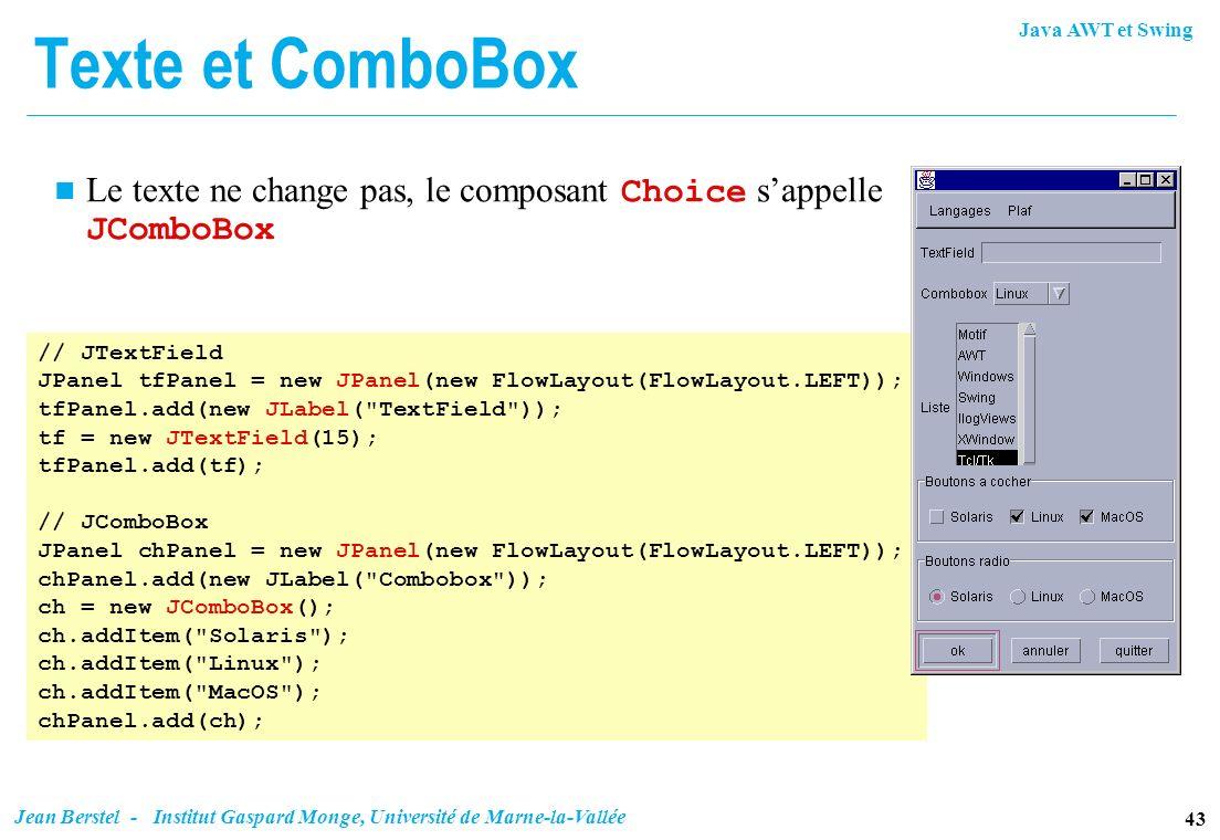 Java AWT et Swing 43 Jean Berstel - Institut Gaspard Monge, Université de Marne-la-Vallée Texte et ComboBox Le texte ne change pas, le composant Choic