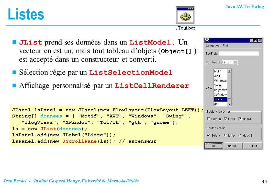 Java AWT et Swing 44 Jean Berstel - Institut Gaspard Monge, Université de Marne-la-Vallée Listes JList prend ses données dans un ListModel. Un vecteur