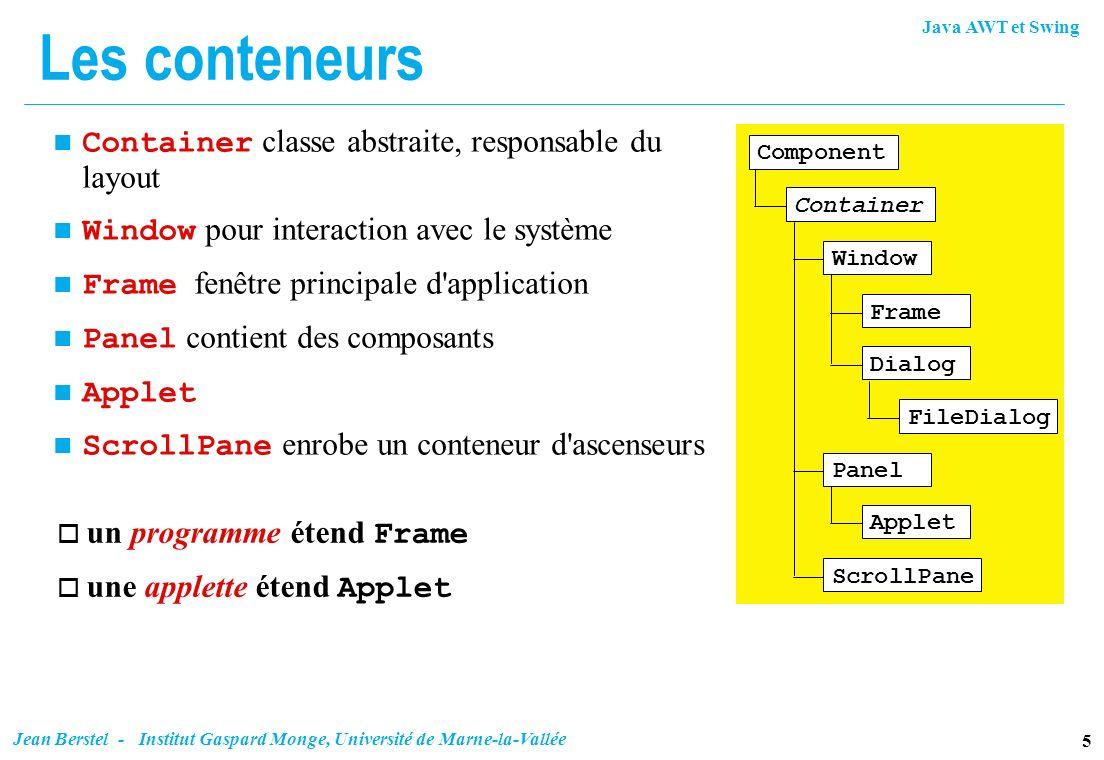 Java AWT et Swing 5 Jean Berstel - Institut Gaspard Monge, Université de Marne-la-Vallée Les conteneurs Container classe abstraite, responsable du lay