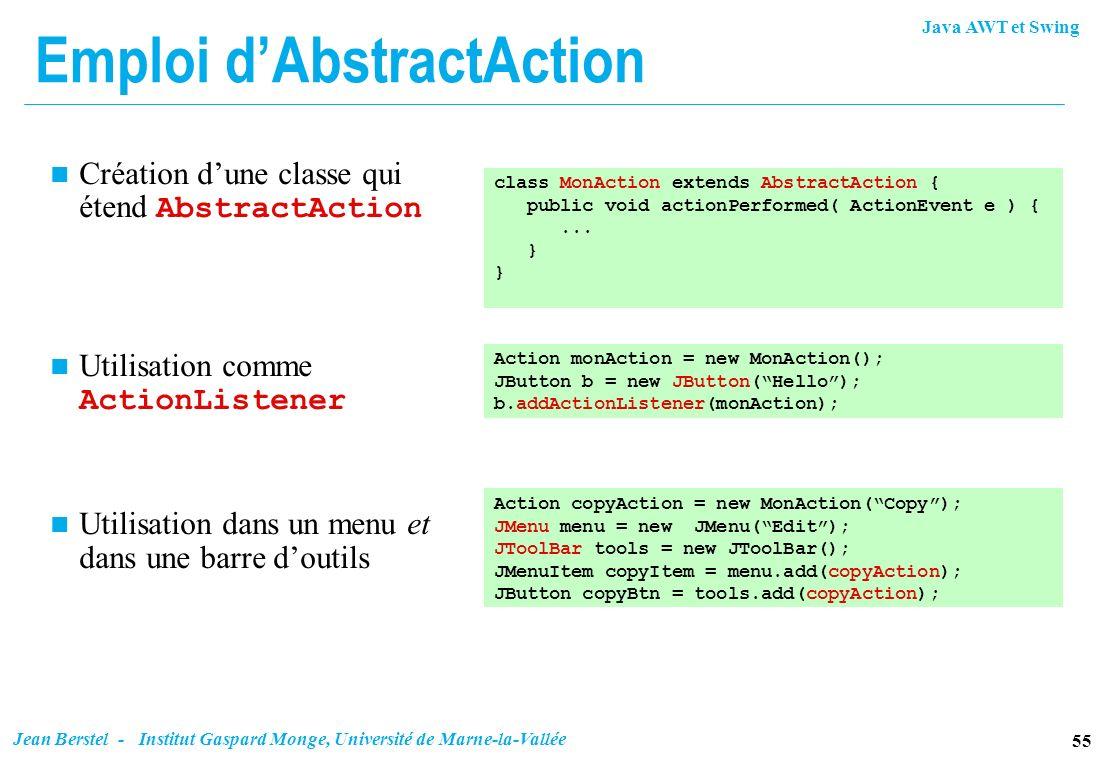 Java AWT et Swing 55 Jean Berstel - Institut Gaspard Monge, Université de Marne-la-Vallée Emploi dAbstractAction Création dune classe qui étend Abstra