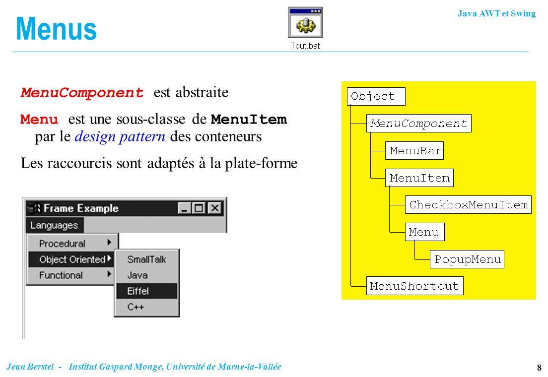 Java AWT et Swing 8 Jean Berstel - Institut Gaspard Monge, Université de Marne-la-Vallée Menus MenuComponent est abstraite Menu est une sous-classe de