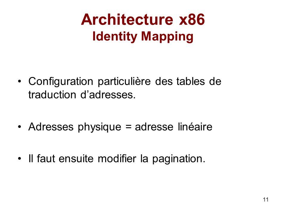11 Architecture x86 Identity Mapping Configuration particulière des tables de traduction dadresses. Adresses physique = adresse linéaire Il faut ensui