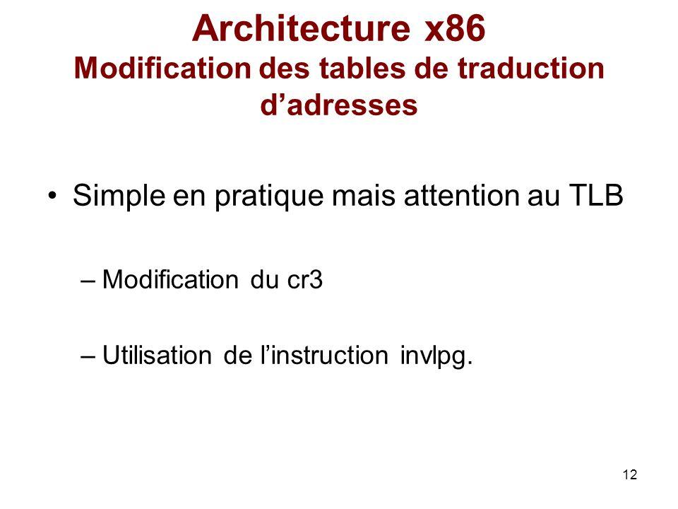 12 Architecture x86 Modification des tables de traduction dadresses Simple en pratique mais attention au TLB –Modification du cr3 –Utilisation de lins