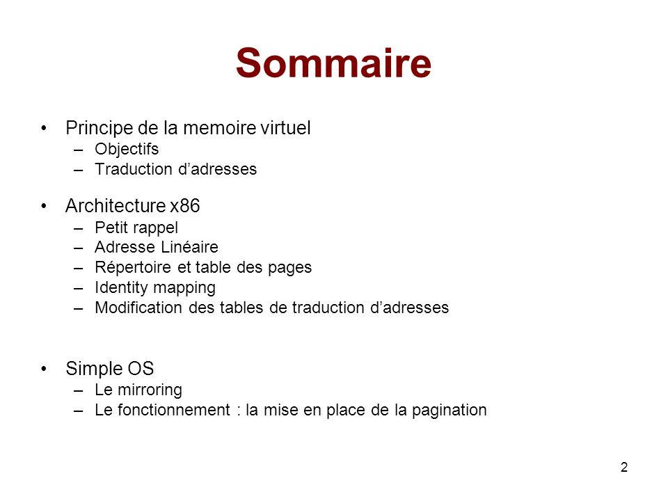 2 Sommaire Principe de la memoire virtuel –Objectifs –Traduction dadresses Architecture x86 –Petit rappel –Adresse Linéaire –Répertoire et table des p
