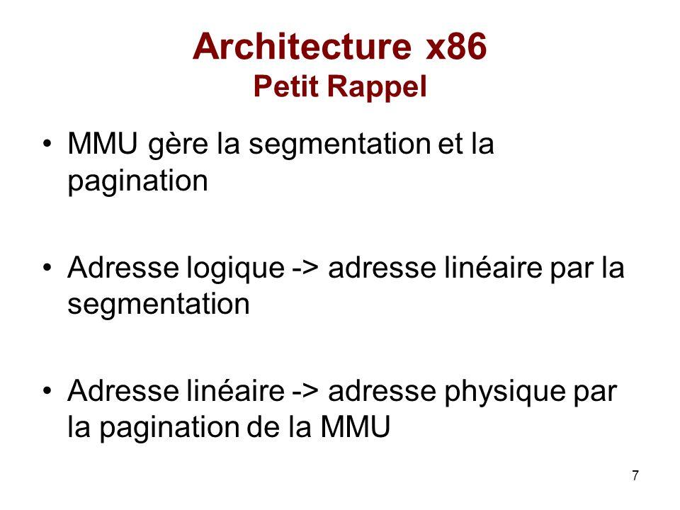 8 Architecture x86 Adresse linéaire Index PDEIndex PTEOffset 0x504000 P=1 0x123000 P=1 0x84 0x40100 42 PDE n° 42 PTE n° 24 Offset 12 2412 31211211 0 22 PD PT Page physique cr3 Adresse Linéaire : 0xa811800c : 42*4MO + 24*4KO +12