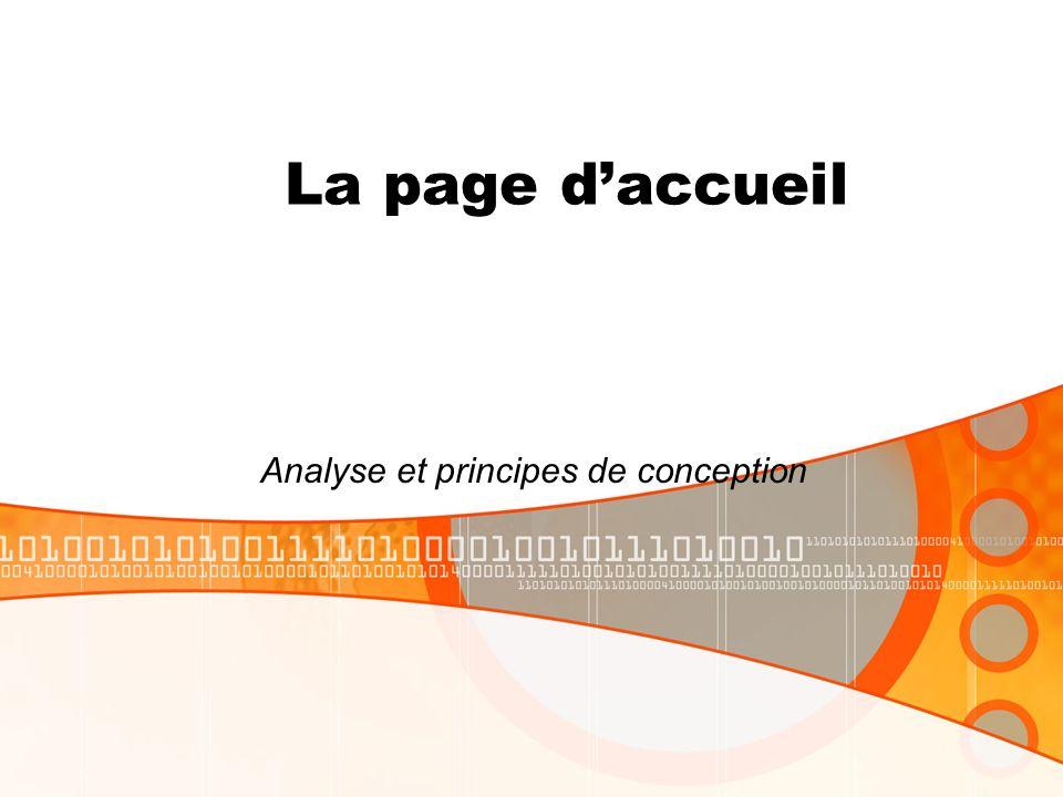 La page daccueil Analyse et principes de conception