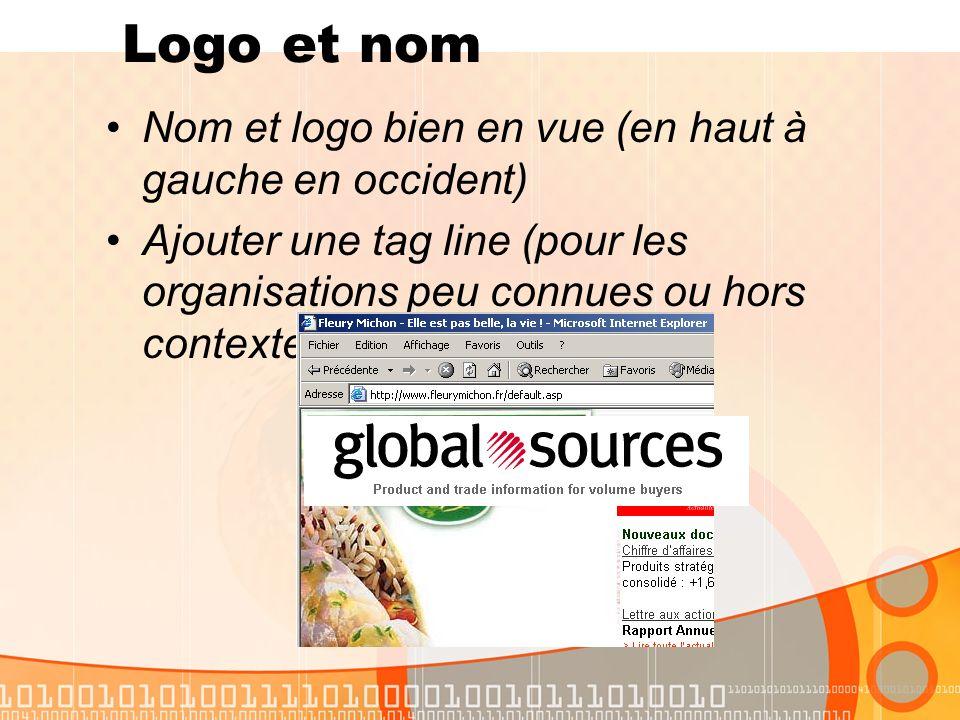 Nom et logo bien en vue (en haut à gauche en occident) Ajouter une tag line (pour les organisations peu connues ou hors contexte) Logo et nom