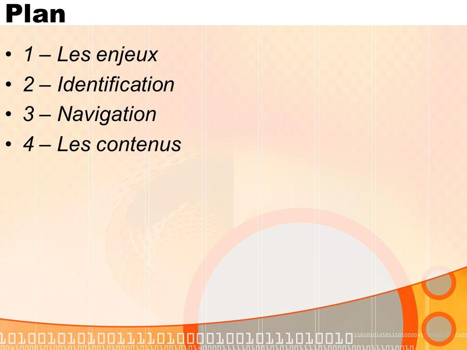 Plan 1 – Les enjeux 2 – Identification 3 – Navigation 4 – Les contenus