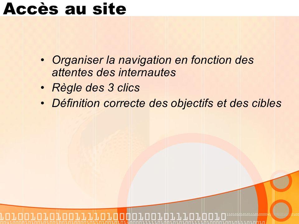 Accès au site Organiser la navigation en fonction des attentes des internautes Règle des 3 clics Définition correcte des objectifs et des cibles
