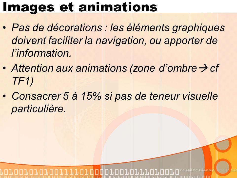Images et animations Pas de décorations : les éléments graphiques doivent faciliter la navigation, ou apporter de linformation.
