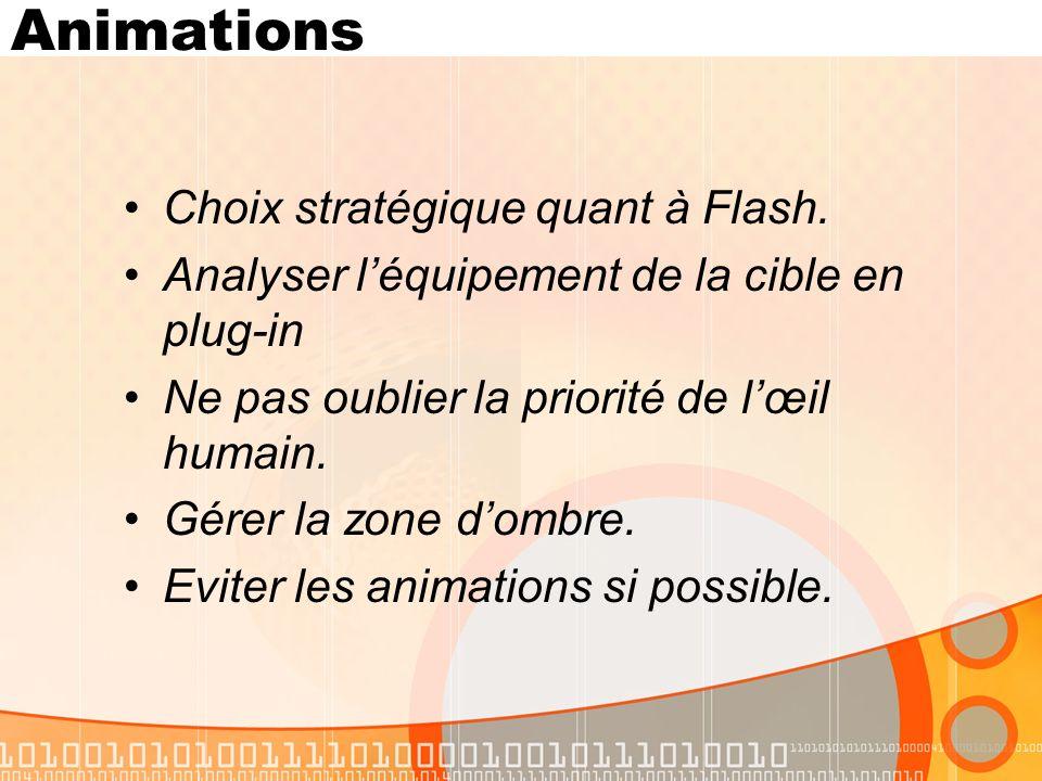 Animations Choix stratégique quant à Flash.