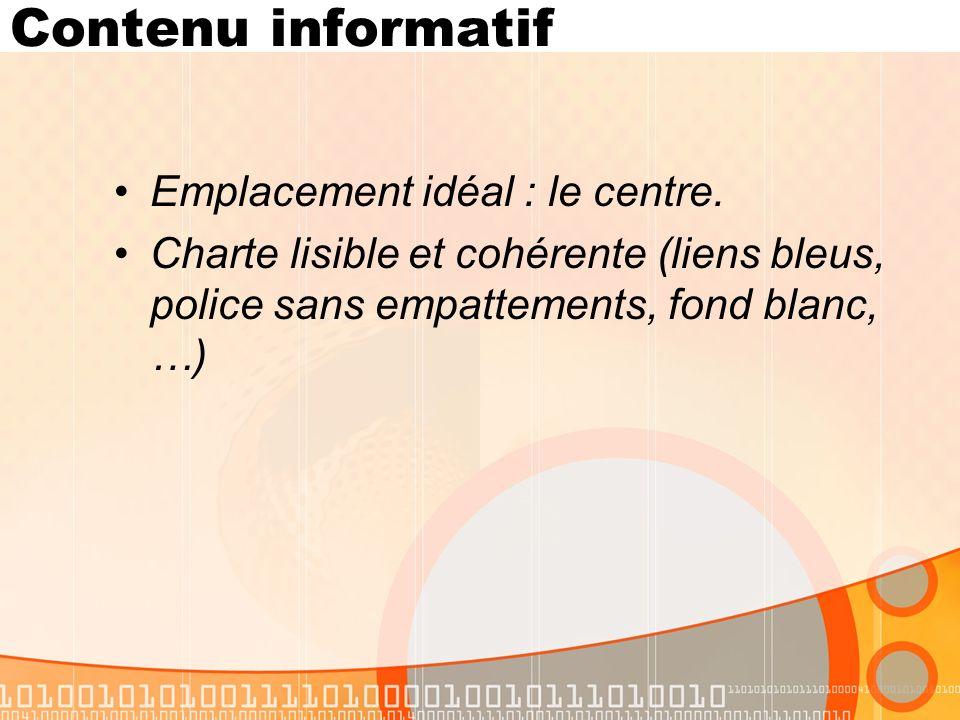 Contenu informatif Emplacement idéal : le centre.