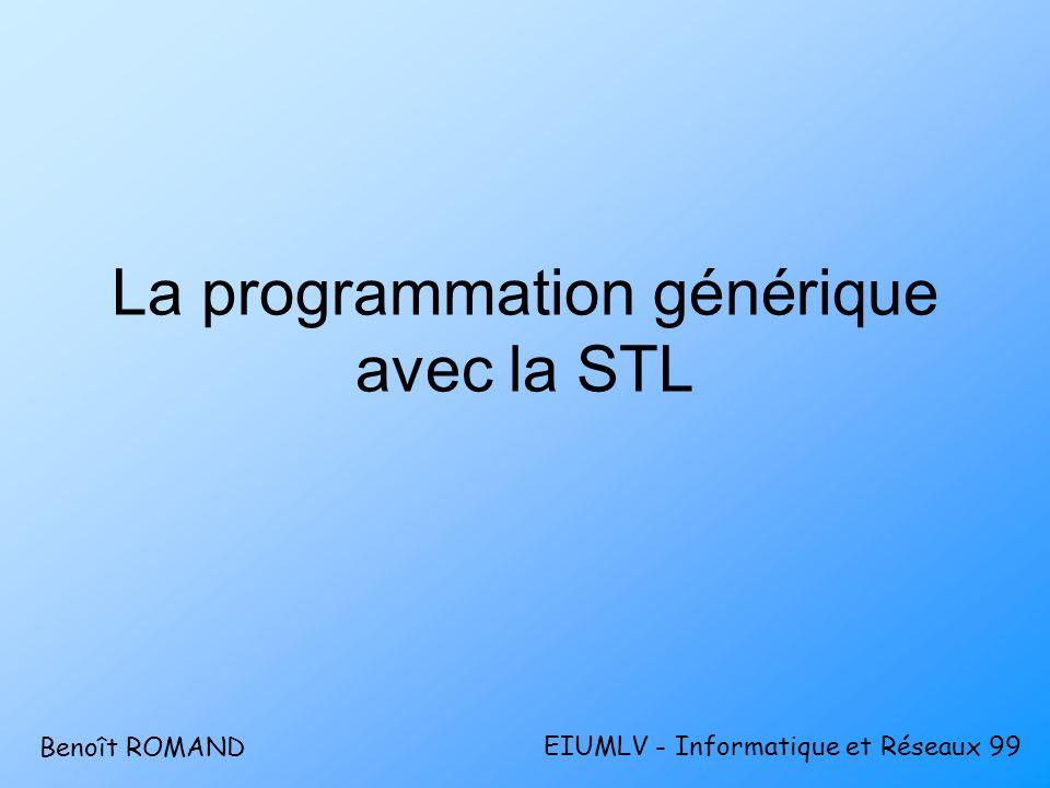 STL – Autre notion : ladaptateur (2) void main() { int arr[] = {1,4,9,16,25}; list liste(arr, arr+5); list ::reverse_iterator revit; revit = liste.rbegin(); while (revit != liste.rend()) cout << *revit++; } Adaptateurs ditérateursAdaptateurs ditérateurs Litérateur inverseLitérateur inverse