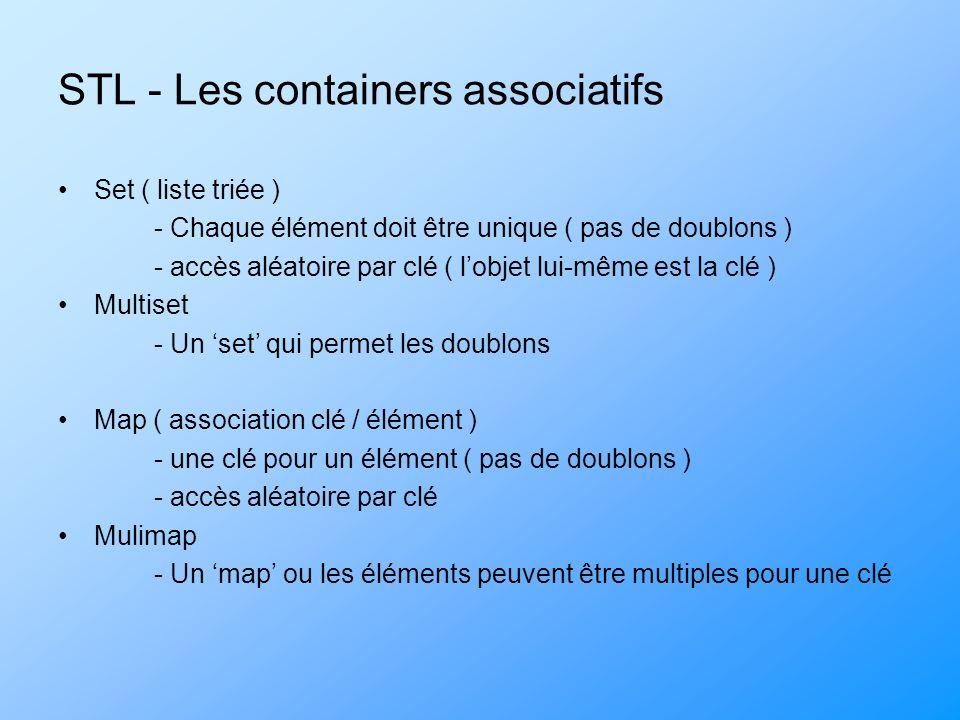 STL - Les containers associatifs Set ( liste triée ) - Chaque élément doit être unique ( pas de doublons ) - accès aléatoire par clé ( lobjet lui-même