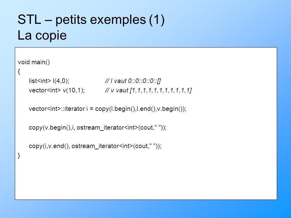 STL – petits exemples (2) Le tri #include List initC(char*c) { List majax; while (*c != \0= majax.push_back(*c++); return majax; } void main() { List gerard = initC( le plus grand et le plus fort des magiciens ); gerard.sort(); gerard.unique(); for (List ::iterator i = gerard.begin() ; i != gerard.end() ; i++) cout << *i; }