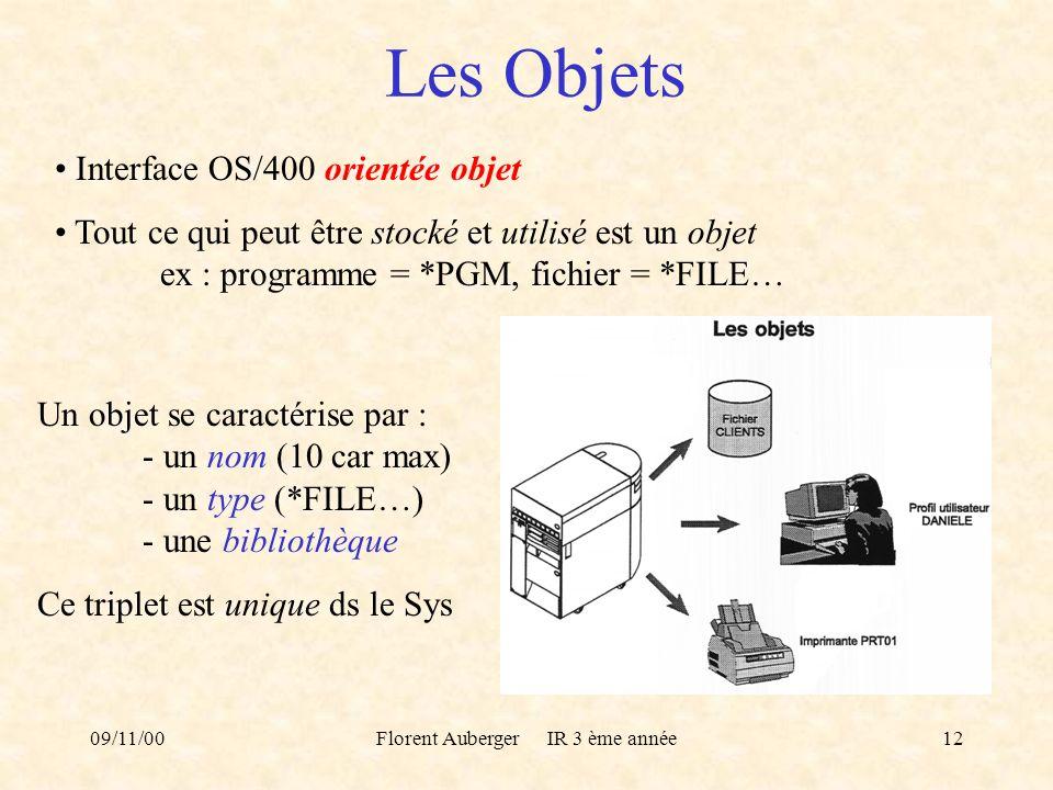 09/11/00Florent Auberger IR 3 ème année12 Les Objets Interface OS/400 orientée objet Tout ce qui peut être stocké et utilisé est un objet ex : program