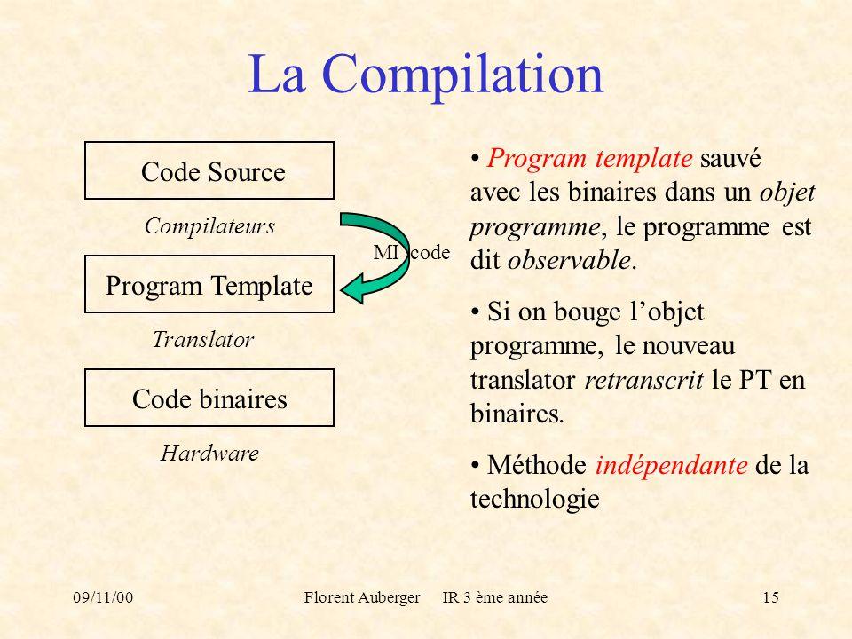 09/11/00Florent Auberger IR 3 ème année15 La Compilation Code Source Compilateurs MI code Translator Code binaires Hardware Program Template Program t