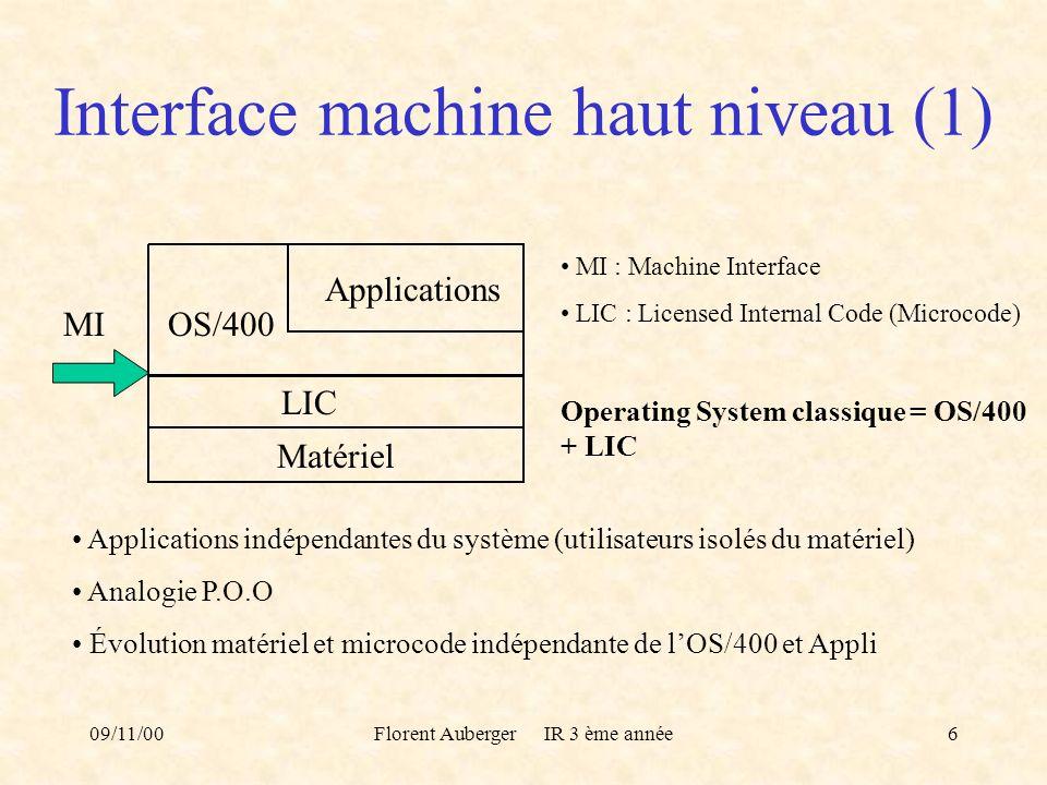09/11/00Florent Auberger IR 3 ème année6 Interface machine haut niveau (1) Matériel OS/400 Applications LIC MI MI : Machine Interface LIC : Licensed I