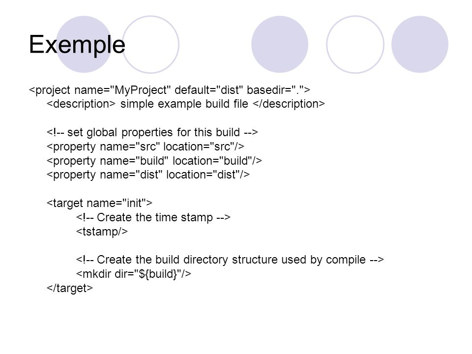 Exemple simple example build file